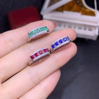 Luxurious wide Row Natural green Emerald Ring S925 Silver Natural ruby sapphire Ring Women girl party gift fine Jewelry