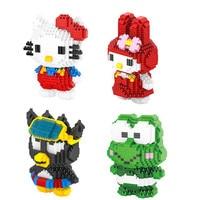 Classic Japan Cartoon Image Hello Kitty Micro Diamond Building Block Kt Cat Melody Rabbit Keroppi Frog XO Penguin Nanoblock Toys