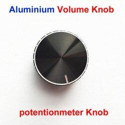 Botones del potenciómetro de volumen negro pomo de aleación de aluminio, diámetro 28mm * 16,5mm/6mm, perilla de encaje de diámetro interior, 10 Uds., envío gratis