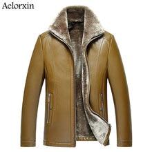 2017 Aelorxin Men's Leather Jacket Wool Interior Genuine Sheepskin Wool Collar Luxury Male Coat New Arrival