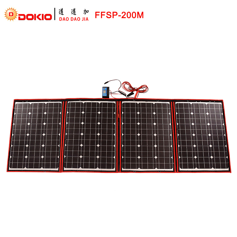 Dokio Black Solar Panels 200W 50Wx4Pc 18V only China Foldable 12 24V Volt Controller Panels Solar