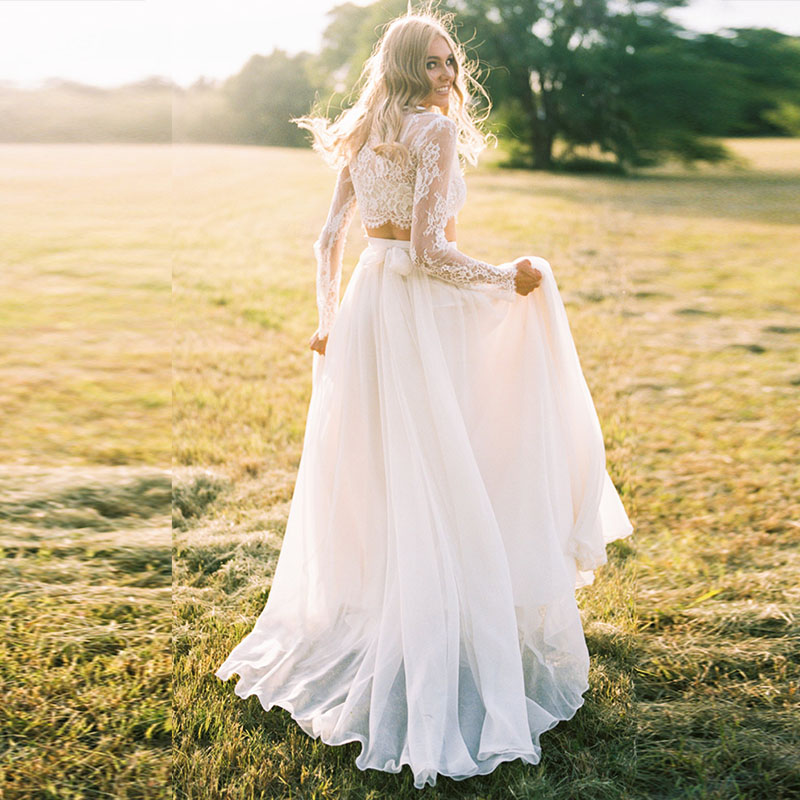 Vestido De Noiva 2019 Sexy Bohemian Wedding Dress  Long Sleeves Two Piece Beach Boho Lace Bride Dress Bridal Gown Robe De Mariee