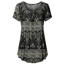 414ee312e8341f Ethnic Style Women's Tunic Blouse Draped Hem Design Tops ladies girls  Summer Floral Printed Round Collar Loose Blouse Jumper