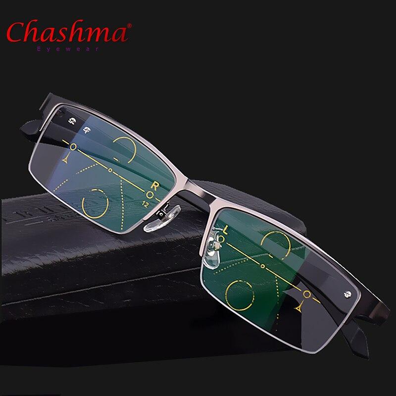 2017 Alliage de Titane Qualité Multifocales lentilles Lunettes de Lecture Hommes Mode Moitié Jante Verres Progressifs Carré dioptrique lunettes