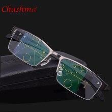 2017 Titanium Alloy Quality Multifocal lenses Reading Glasses Men Fashion Half Rim Progressive Square diopter glasses