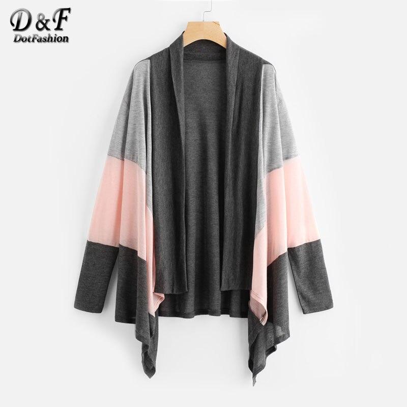 e815e9cf9a6 Dotfashion Color Block Drop Shoulder Open Front Sweater Coat Women  Multicolor Autumn Casual Shawl Collar Long Sleeve Outerwear