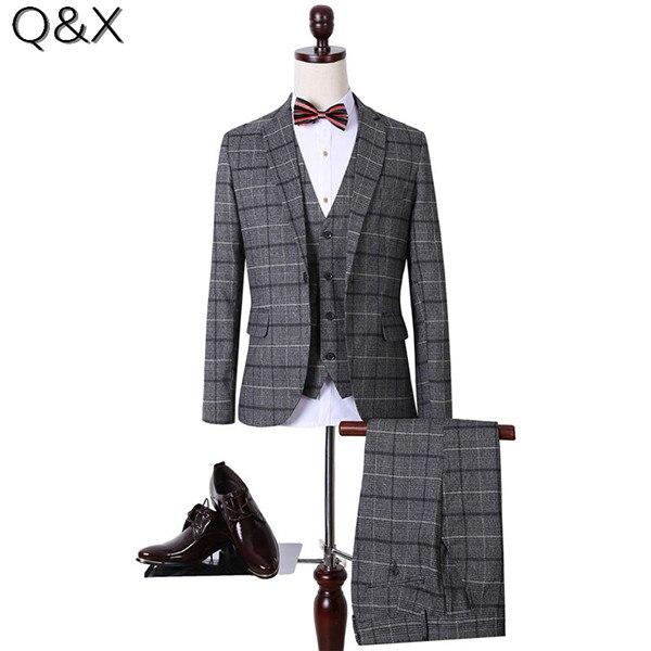 Мужской костюм MS64, серый облегающий смокинговый костюм большого размера для свадьбы, мужской костюм на одной кнопке из 3 предметов (куртка +