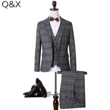 MS64 Grey Slim Fit Men Checks Plus Size Tuxedos Wedding Suits Groomsmen Suits One Button Men 3 Pieces Suit (Jacket+Pants+Vest)