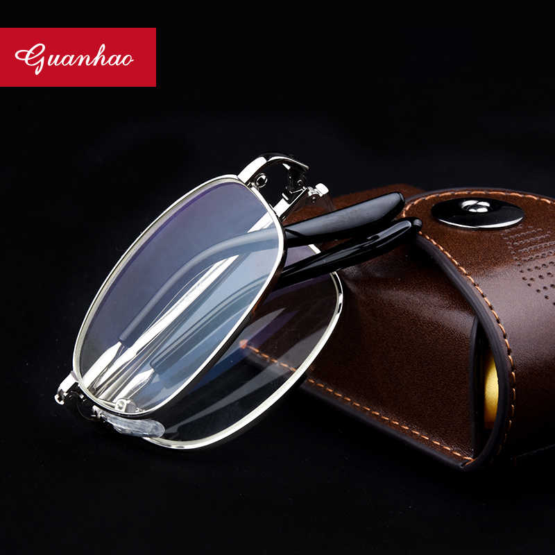 Guanhao Anti Blue Light Blocking Reading Glasses Fashion Folding Readers with Leather Cases Glasses Eyewear for Men and Women