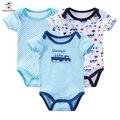 3 pcs de verão do bebê menina roupas de natal de algodão de manga curta baby boy clothing set macacões recém-nascidos bodysuits dos desenhos animados impressão