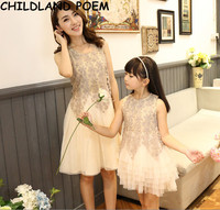Mother Daughter Dresses Summer 2017 Mother And Daughter Clothes Lace Party Family Matching Clothes Mom And