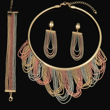2016 HOT dubai Filled Women Party Jewelry Set Women Wedding Necklace Bracelet Earring Ring African Beads