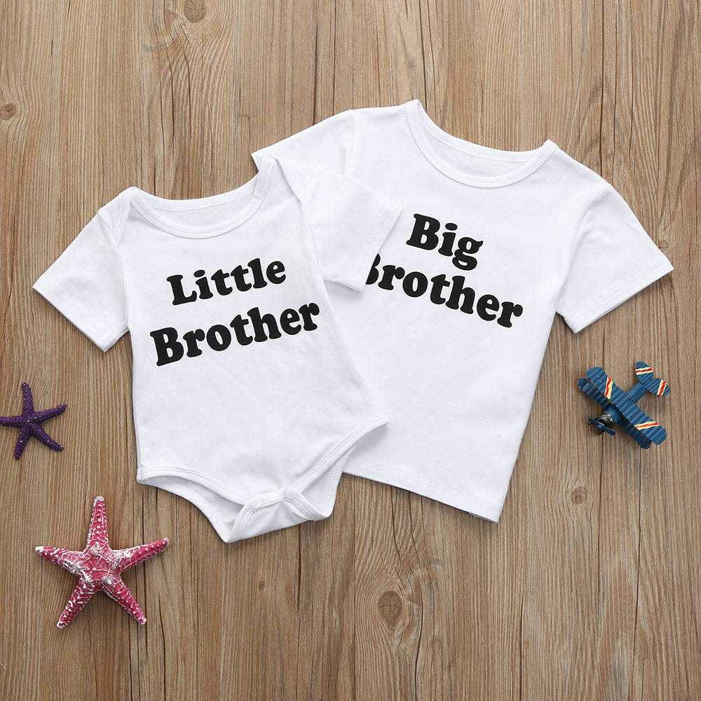 Infant Toddler Kids Baby Boys Letter Print T-<font><b>shirts</b></font> Tops Outfits Brother Clothes Big Brother <font><b>Twins</b></font> Cute Baby Tee <font><b>Shirt</b></font> Fillette image