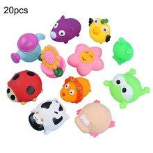 10/20 шт. милые Животные игрушки для плавания Красочный мягкий резиновый плавающий Squeeze писклявый звук игрушка для купания для детей игрушки для ванной комнаты