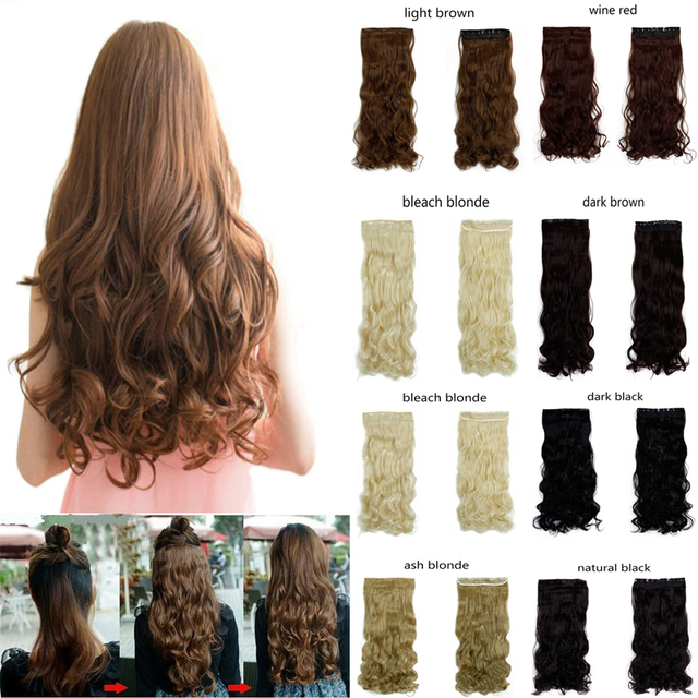 27″ long curly synthetic hair clip in half head hair extension 17 colors 150g black brown blonde auburn