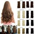 """New 27 """"longo encaracolado cabelo sintético grampo na extensão do cabelo metade cabeça 17 cores 150g preto brown loira auburn frete grátis"""