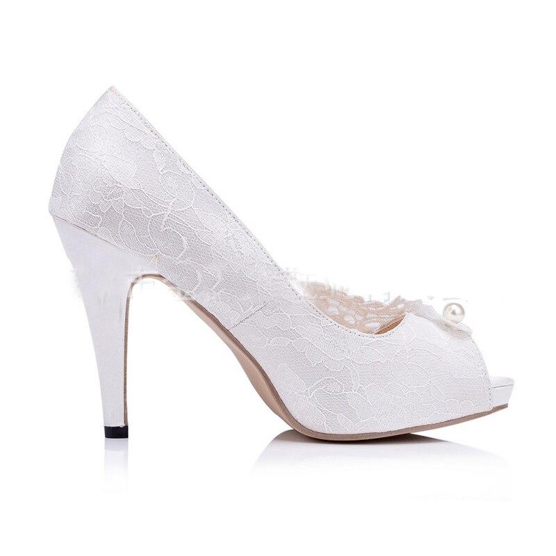 10cm White Demoiselle Aiguille Heels Blanche Bal Dame Peep Mode Plates Mariage Livraison D'honneur Toe Soirée De Talon Dentelle Gratuite formes Chaussures q4vHUwWA