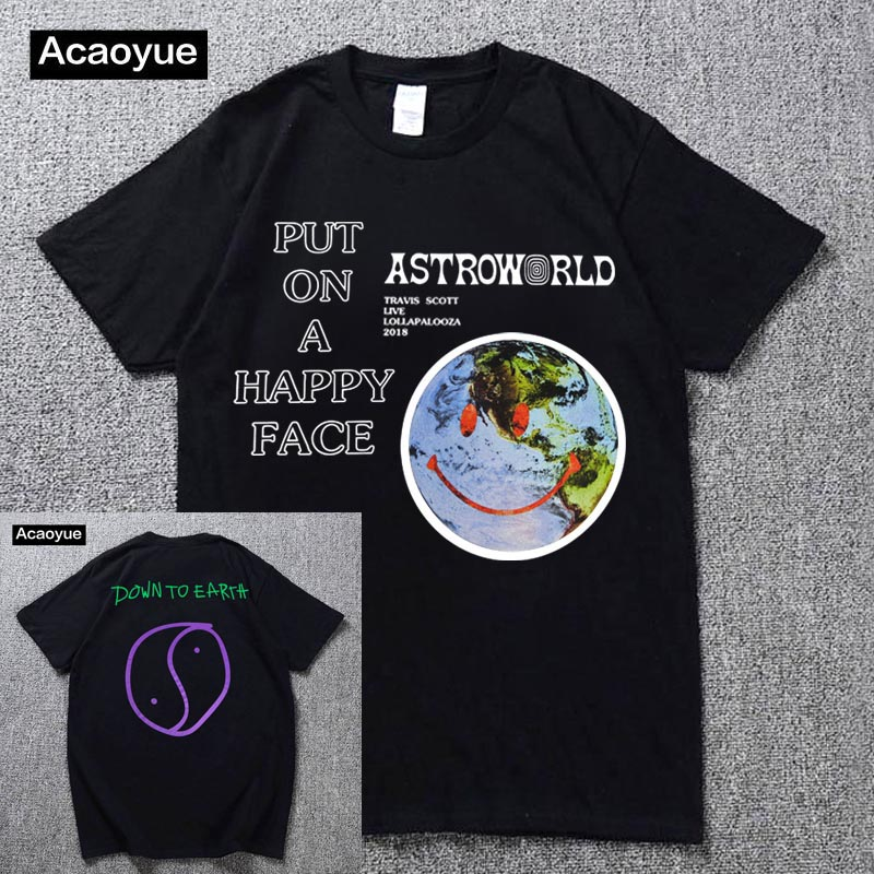 T-Shirt Travis Scott World Harajuku Hip-Hop Smiley Lollapalooza And Cotton Men's Summer