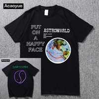 Travis Scott Lollapalooza Astroworld Smiley World T-Shirt Men's and Women's Summer Cotton T-Shirt Harajuku Hip Hop 2018