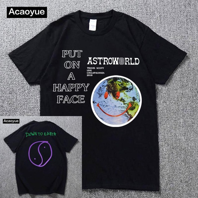 f42b78534953 Travis Scott Lollapalooza Astroworld Smiley World T-Shirt Men's and Women's  Summer Cotton T-Shirt Harajuku Hip Hop 2018