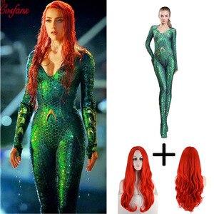 Image 1 - Nouveau femmes enfant film Aquaman Mera reine Cosplay Costume Zentai body combinaison et perruques Lycra Spandex Zentai costume 2019