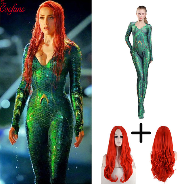 Nouveau femmes enfant film Aquaman Mera reine Cosplay Costume Zentai body combinaison et perruques Lycra Spandex Zentai costume 2019