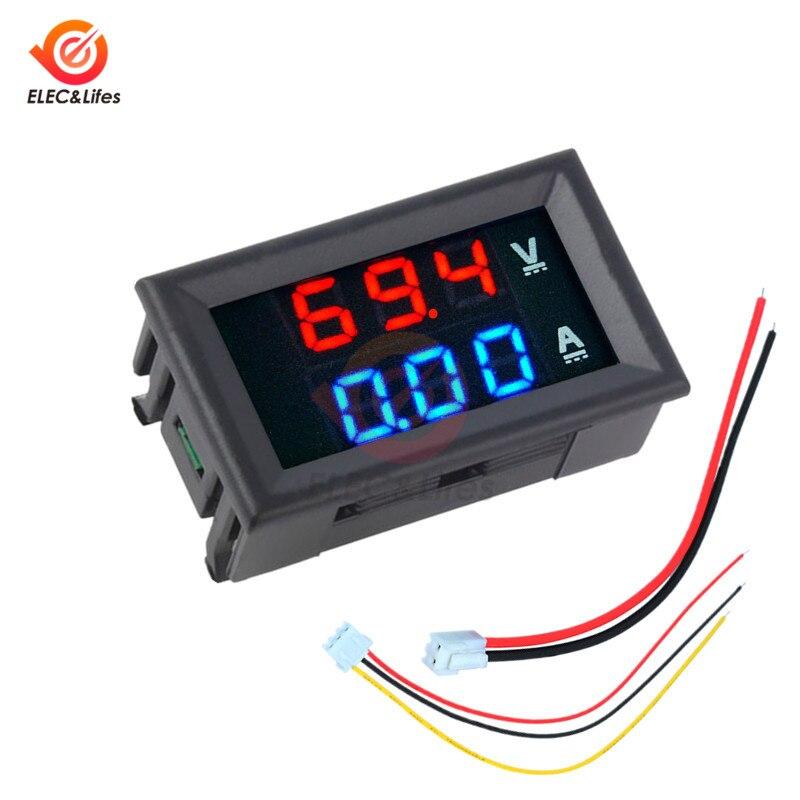 Мини цифровой вольтметр постоянного тока Амперметр детектор Регулируемый DC 200 в 100 в 10A Напряжение Панель измерителя тока источник питания д...