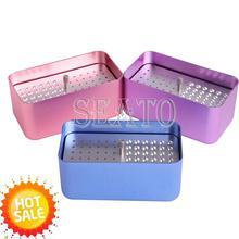 1pcs Aluminum 60 Holes Dental Disinfection Box Autoclave Case For Endodontic Files and Burs  Dentist Instrument