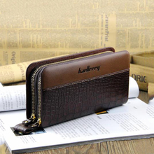 Клатч мужской European and American style men's wallet long double zipper clutch bag mobile phone bag men's clutch bag недорого