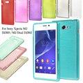 Para sony xperia m2 dual case cepillado gel tpu cajas del teléfono bolso de la cubierta de shell para sony xperia m2 d2303/m2 dual D2302