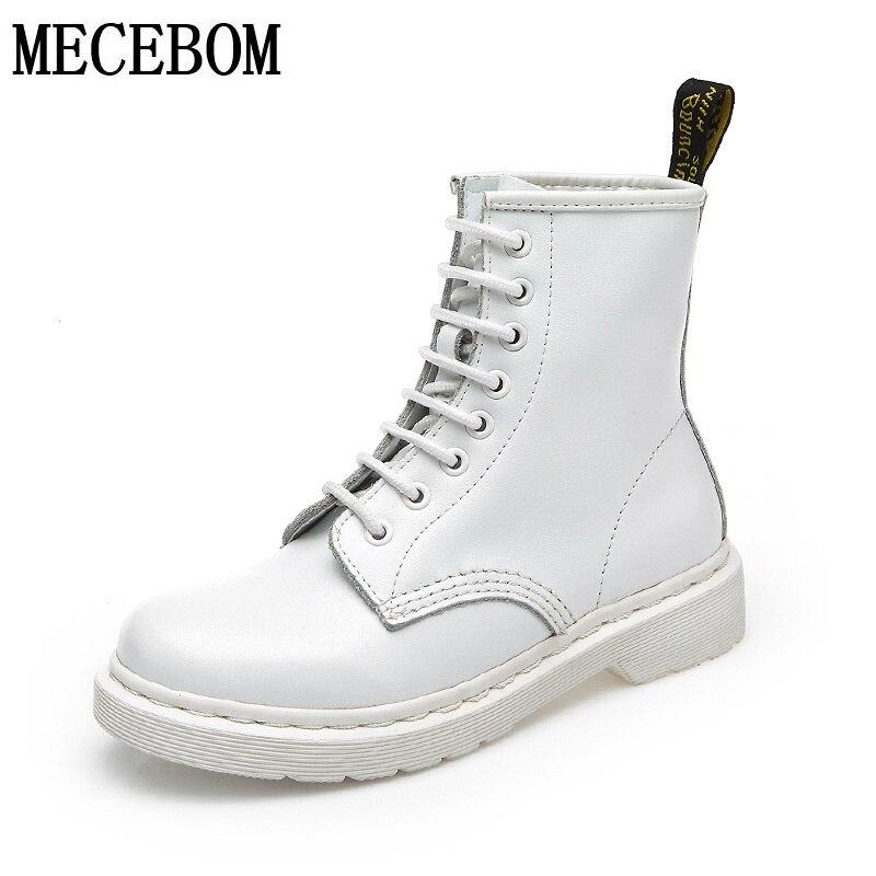 ФОТО Women British style Boots genuine leather white boots  Women Autumn winter Ankle Boots exquisite sapato feminino JA603W