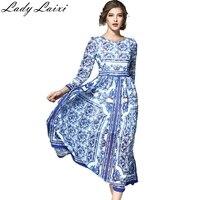 Frau Lange Kleid Mode Blauen Und Weißen Porzellan Druck Kleid Frau Chiffon Kleid Dame Laxi