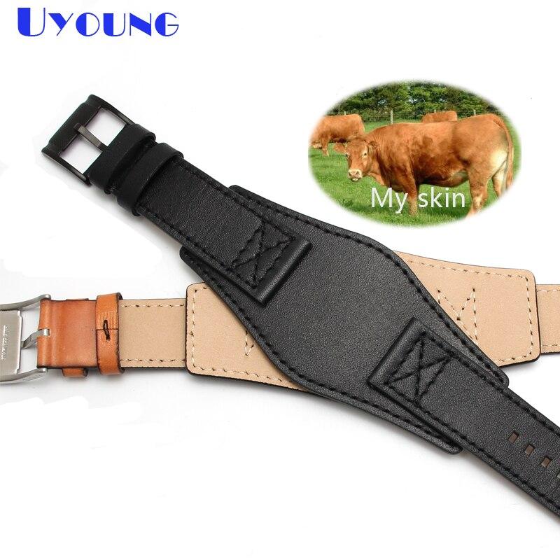 Bracelet de montre en cuir véritable bracelet de montre de mode 24mm pour bracelet de montre fossile avec bracelet de montre en cuir fait main mat pour hommes