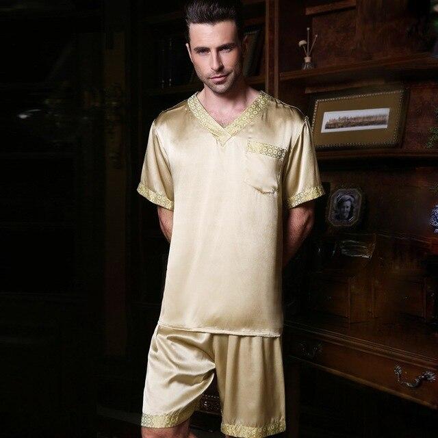Сексуальный натурального шелка пижамы мужской летние шорты рукава из натуральной шелковые пижамы Для мужчин v-образным вырезом пижамные шорты комплекты из двух предметов Домашняя одежда 2612