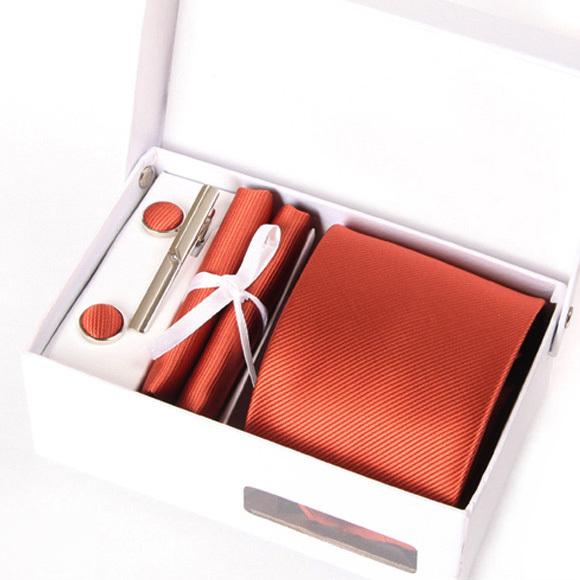 2016 homens laranja gravatas mariage sólida gravata gravata formal do negócio do sexo masculino abotoadura casamento gent kravat lenço no pescoço set empate