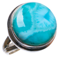 Natural Caribbean Larimar Handmade Unique 925 Sterling Silver Ring, US size 7 X2618