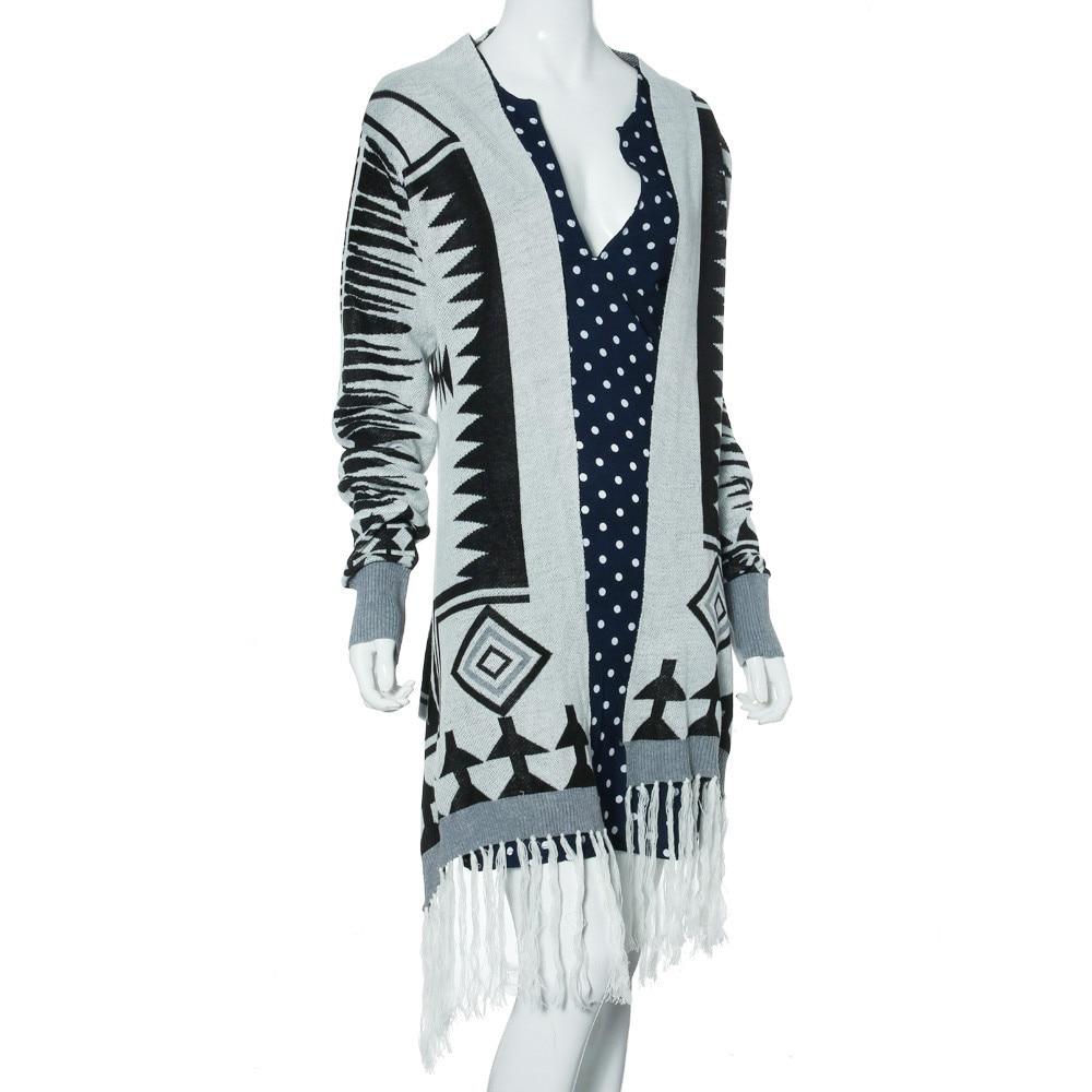 Modern Womens Long Sleeve Knitted Cardigan Geometric Pattern Tassel ...