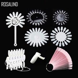 ROSALIND False Nail Tips Color Card Transparent White Buckle Ring Nail Art Practice Display Tools Manicure Nail Tool 16 Patterns(China)