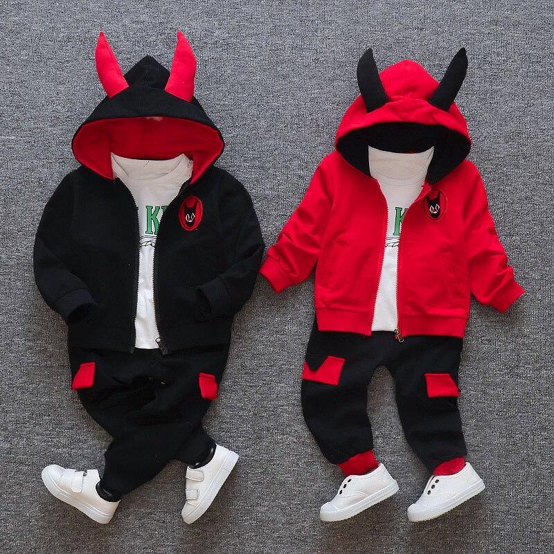 New Little Devil Sport Wear For Girls Children's Clothing Sets Baby Hoodies Girls Clothes Autumn Sports Suit Kids Sweatshirts
