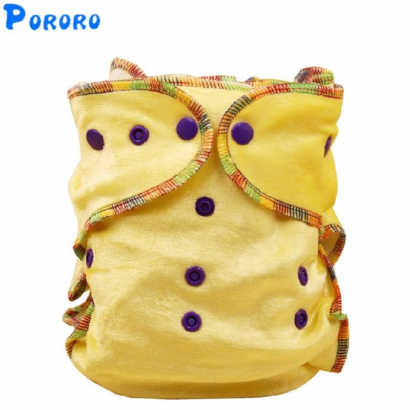 Effen fluwelen baby doek luiers wasbare kleurrijke Fited luier Nappy bamboe katoen innerlijke herbruikbare doek luiers kleur willekeurig