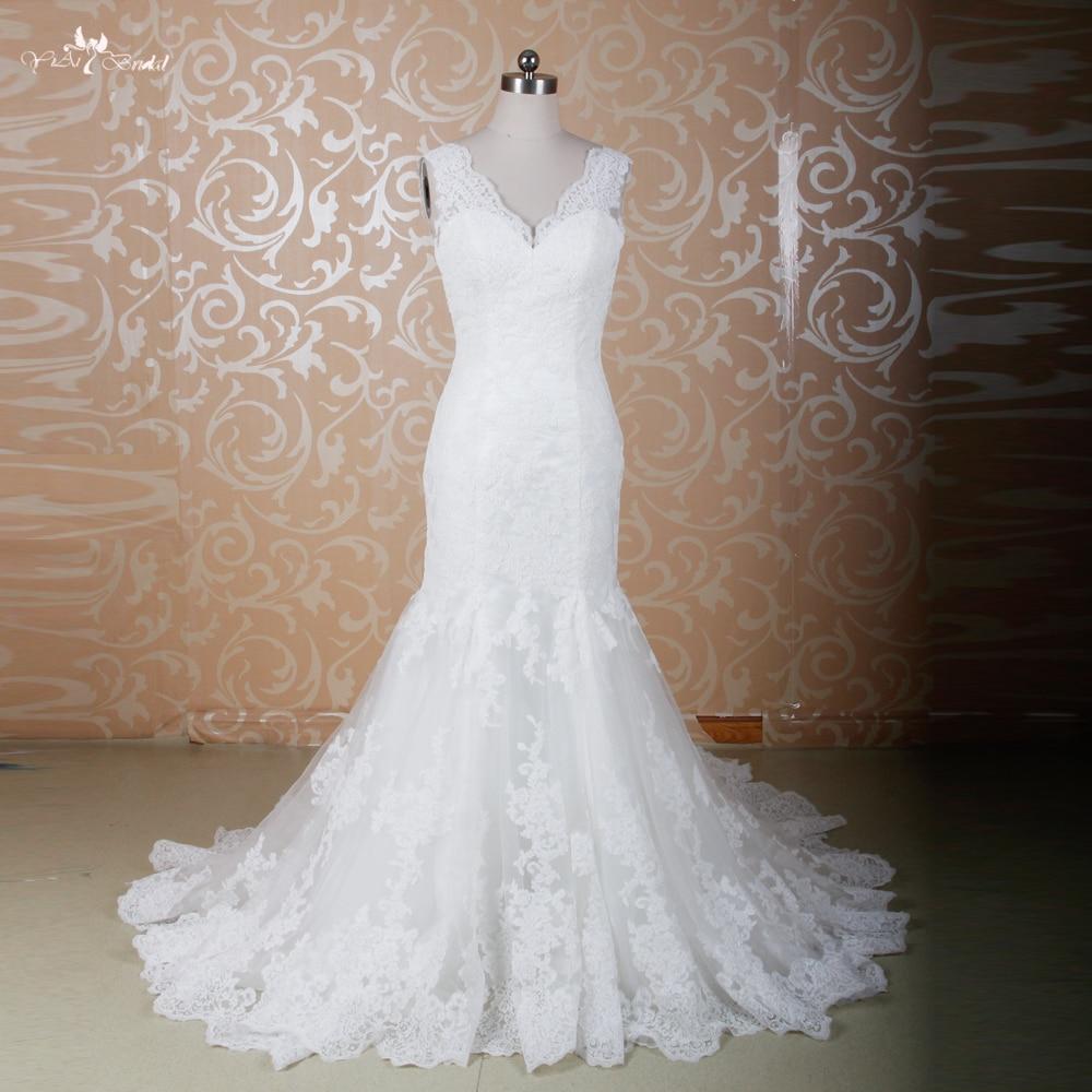 Rsw771 elegant fitted lace sexy mermaid wedding dresses for Fitted mermaid wedding dresses