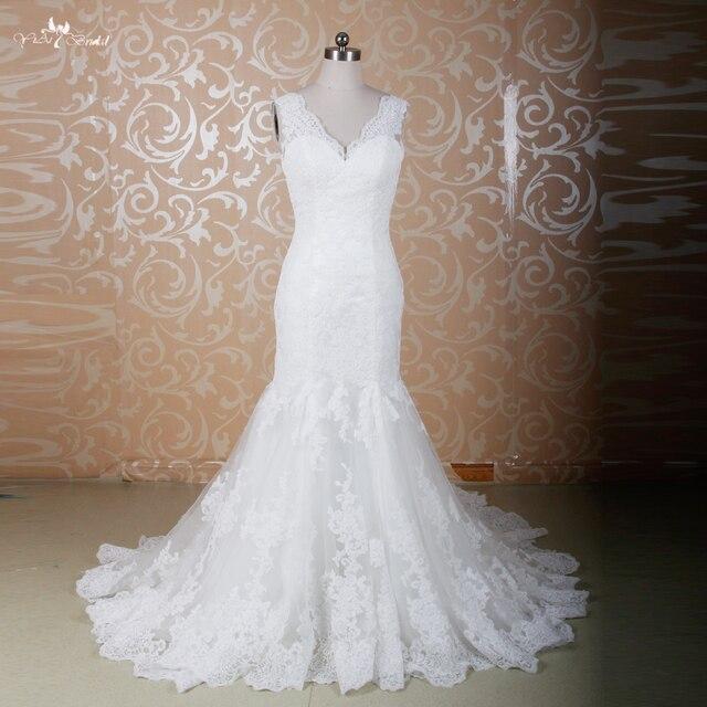 RSW771 Elegant Fitted Lace Sexy Mermaid Wedding Dresses Mermaid Cut