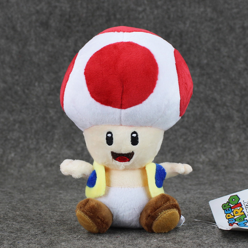 1pcs 7'' 17cmCute Super Mario Bros Plush Toys Mushroom Toad Soft Stuffed Plush Doll with Sucker Baby Toy For Kids