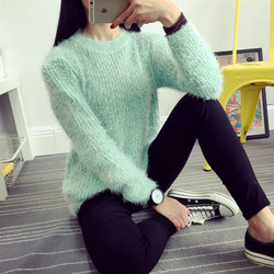 2016 Women Candy Colors Sweaters Fashion Autumn Winter Warm Mohair O-Neck Pullover Long Sleeve Casual Loose Sweater Knitted Tops 3