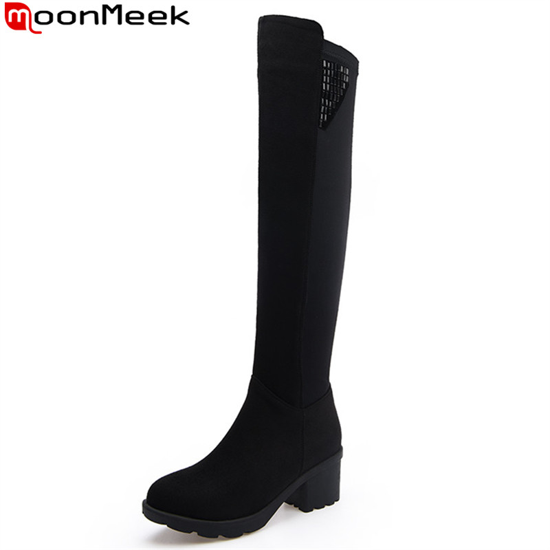 MoonMeek black winter women boots square heels zipper high heels over the knee boots simple comfortable platform big size 34-43 2017 winter new fashion women brown or white color square toe heels over the knee high thigh boots martin long boots big size 42