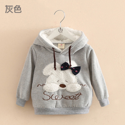 baby girls clothed kids autumn and winter rabbit girls clothing child fleece with a hood sweatshirt outerwear casual hoodies