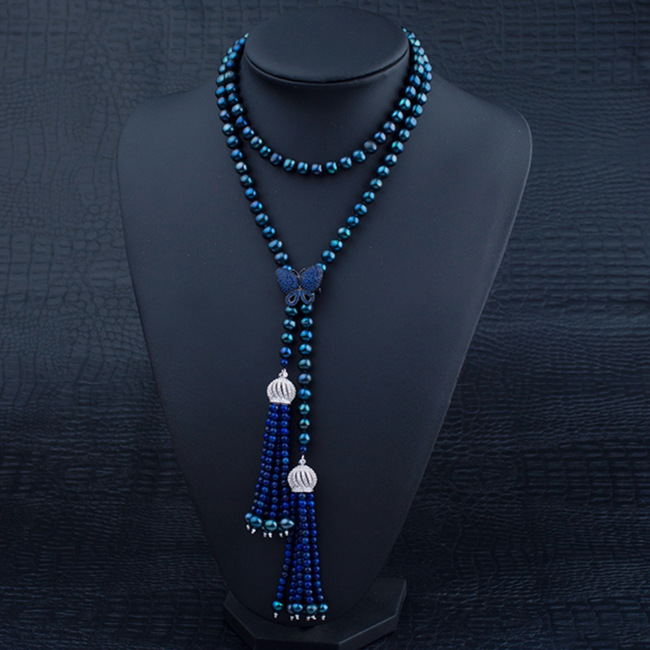 92cm Long Pearl Necklace With Lapis Lazuli Tassel Pendant Autumn Winter Season Coat Dyed Black Pearl