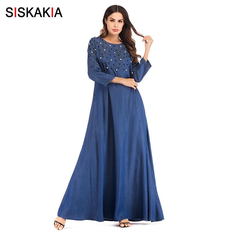 330c01f4512fd US $25.66 45% OFF|Siskakia Denim long dress Swing Beading patchwork design  maxi Dresses Autumn Fall 2018 Muslim Women Dress Brief Elegant Blue UAE-in  ...