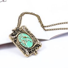 Vintage Crystal Bird Pattern Photo Locket Box Pendant Necklace for Women Jewelry Gift for Lover retro jewelry flowers photo locket necklace natural stone long necklace for women vintage