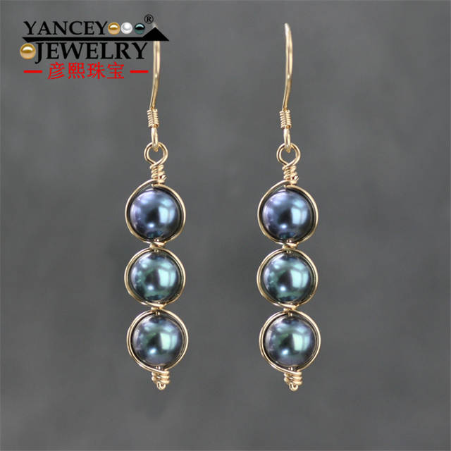 Yancey Original Design Natural Black Pearl Handmade Drop Earrings S990 Silver And 9k Gold Bohemia